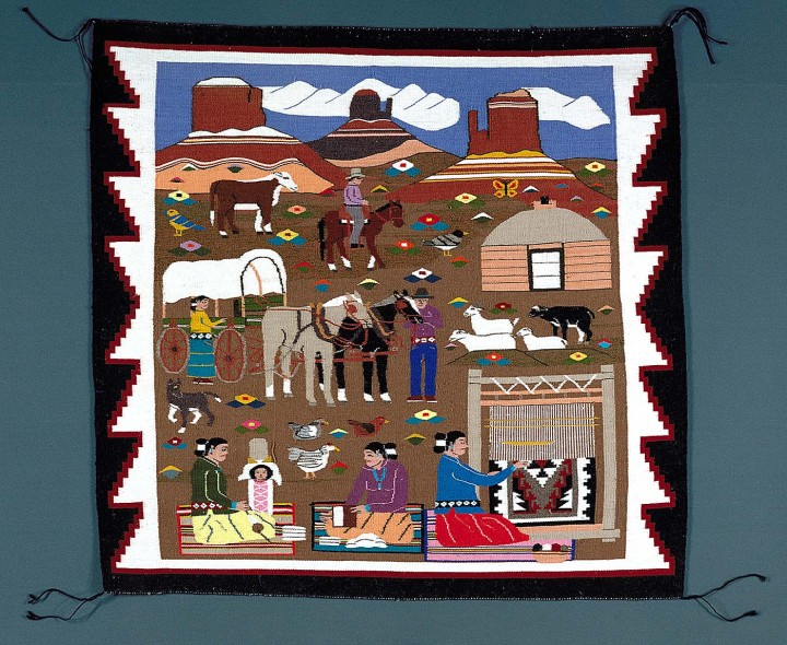 Reservation Scene - Navajo Rug woven by Louise Nez 1992
