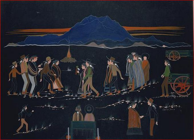 Squaw Dance Painting by 1965 Charles Yazzie,  (Navajo)