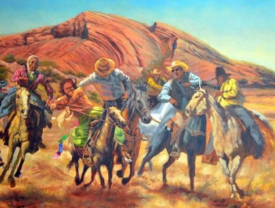 Navajo Chicken Pull – Painting by James King